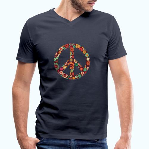 Flowers children - peace - Men's Organic V-Neck T-Shirt by Stanley & Stella