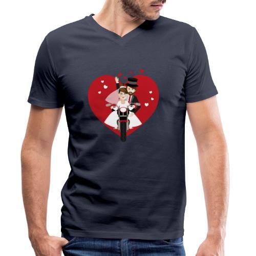 Brautpaar auf dem Motorrad - Rot - Männer Bio-T-Shirt mit V-Ausschnitt von Stanley & Stella