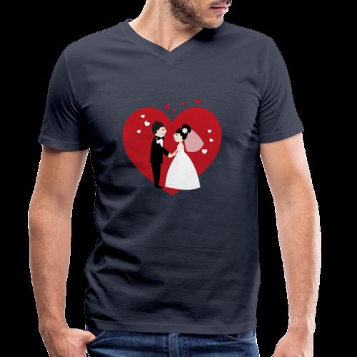 Hochzeitspaar im Comic Stil mit Rotem Herz - Männer Bio-T-Shirt mit V-Ausschnitt von Stanley & Stella