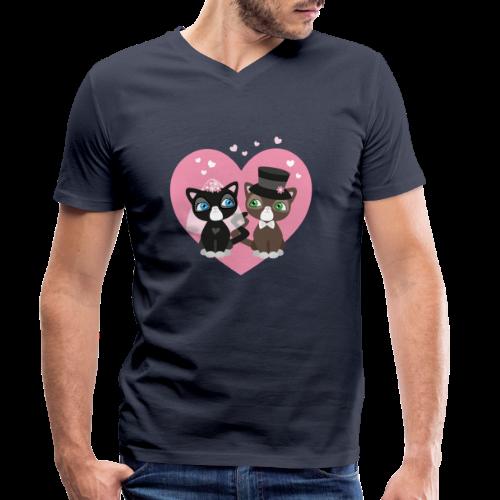 Katzen-Braut und Katzen-Bräutigam - Hochzeitspaar - Männer Bio-T-Shirt mit V-Ausschnitt von Stanley & Stella