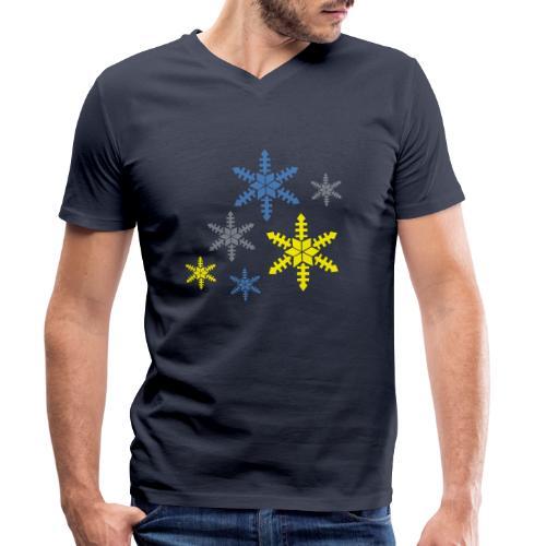 Schneeflocken - Männer Bio-T-Shirt mit V-Ausschnitt von Stanley & Stella