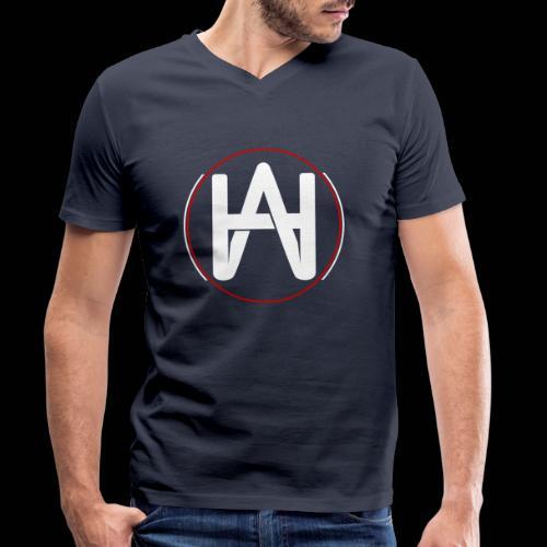 Hombre Alpha Logo en Blanco sobre Negro - Camiseta ecológica hombre con cuello de pico de Stanley & Stella