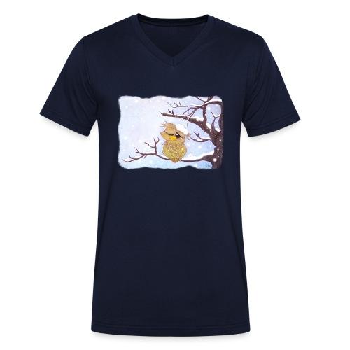 Kauz im Schnee - Männer Bio-T-Shirt mit V-Ausschnitt von Stanley & Stella