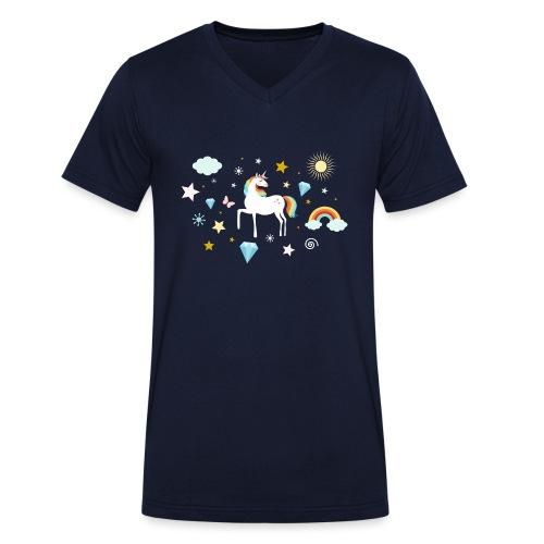 Einhorn Traumwelt Chaos Rainbow Unicorn Sterne - Männer Bio-T-Shirt mit V-Ausschnitt von Stanley & Stella