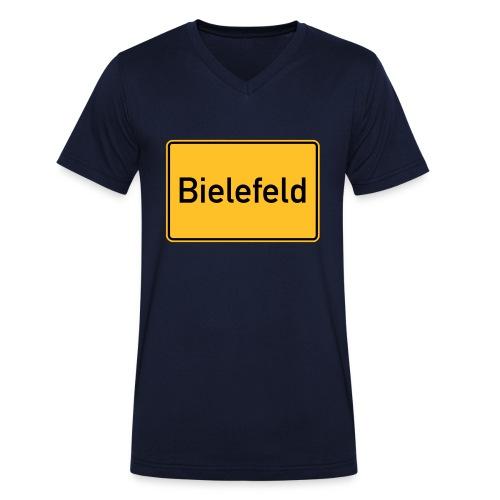 Ortsschild Bielefeld - Männer Bio-T-Shirt mit V-Ausschnitt von Stanley & Stella