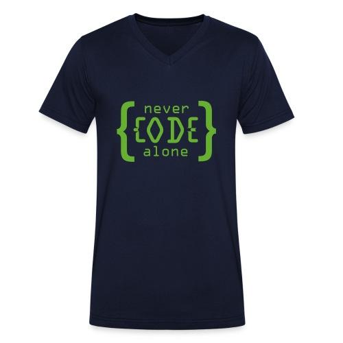 Never Code Alone Logo - Männer Bio-T-Shirt mit V-Ausschnitt von Stanley & Stella