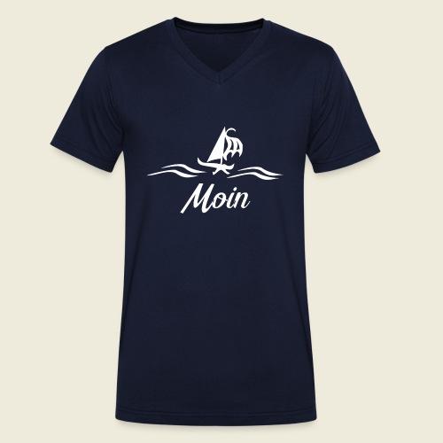 Moin mit Schiff in weiß - Männer Bio-T-Shirt mit V-Ausschnitt von Stanley & Stella