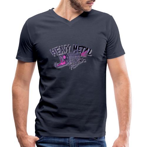 heavy metal red pink.logo - Männer Bio-T-Shirt mit V-Ausschnitt von Stanley & Stella