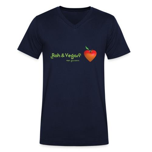 Roh & Vegan rotes Apfelherz (Rohkost) - Männer Bio-T-Shirt mit V-Ausschnitt von Stanley & Stella