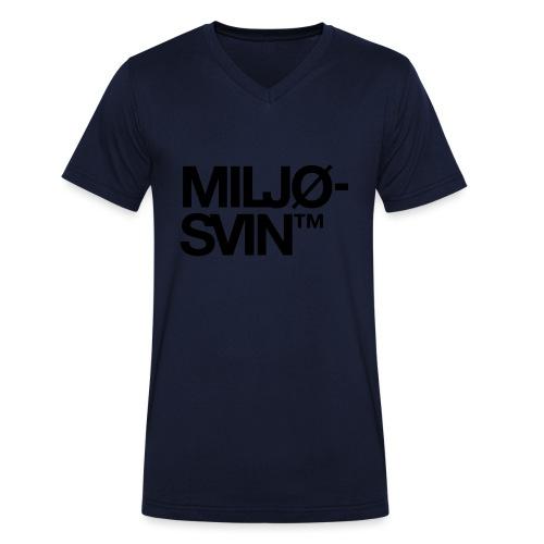 Miljøsvin (tm) - Det norske plagg - Økologisk T-skjorte med V-hals for menn fra Stanley & Stella