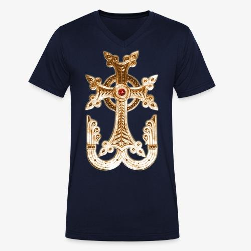 Armenisches Kreuz / Armenian Cross Gold Metallic - Männer Bio-T-Shirt mit V-Ausschnitt von Stanley & Stella