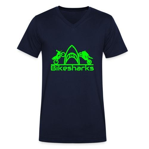 Bikesharkslogo Grün - Männer Bio-T-Shirt mit V-Ausschnitt von Stanley & Stella