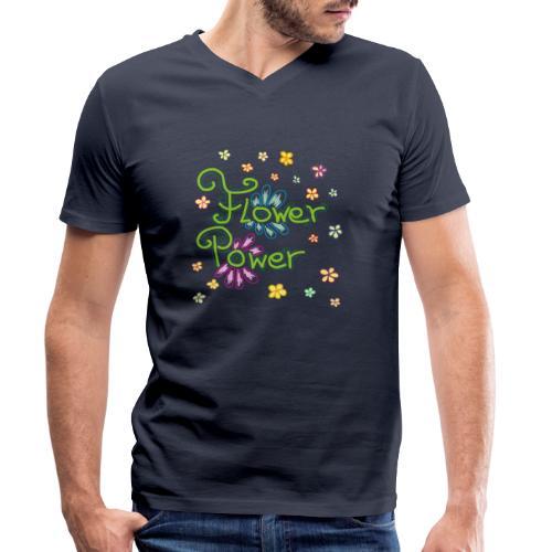 Flower Power - Männer Bio-T-Shirt mit V-Ausschnitt von Stanley & Stella