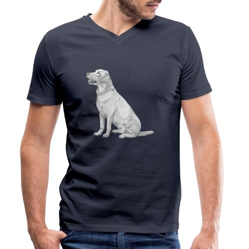 labrador Retriever Yellow sit - Økologisk Stanley & Stella T-shirt med V-udskæring til herrer