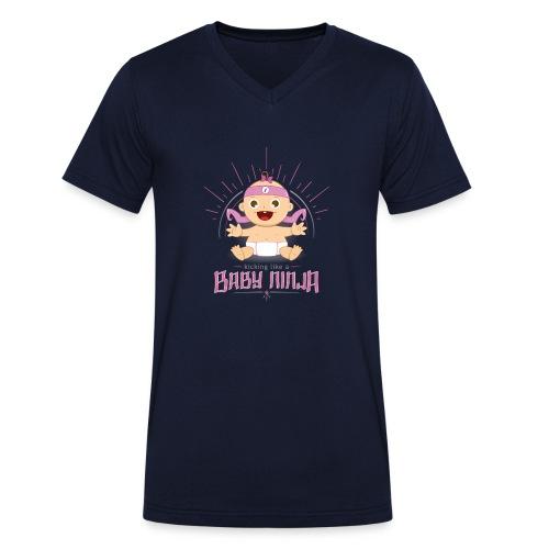 Baby Ninja - Rosa - Männer Bio-T-Shirt mit V-Ausschnitt von Stanley & Stella