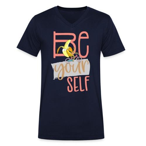 Glückliche & Sportliche Banane - Be always you - Männer Bio-T-Shirt mit V-Ausschnitt von Stanley & Stella
