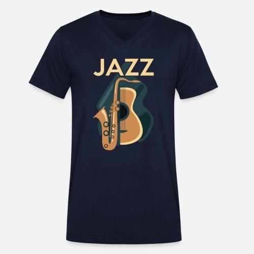 Jazz Gitarre mit Saxophon - Männer Bio-T-Shirt mit V-Ausschnitt von Stanley & Stella