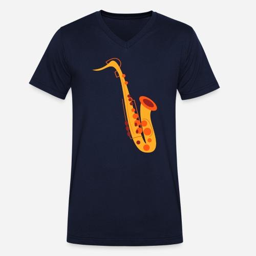 Goldenes Saxophon - Männer Bio-T-Shirt mit V-Ausschnitt von Stanley & Stella