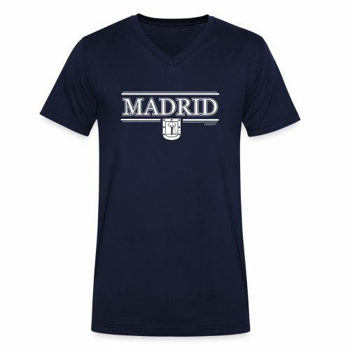 Camiseta Madrid Negra - Camiseta ecológica hombre con cuello de pico de Stanley & Stella