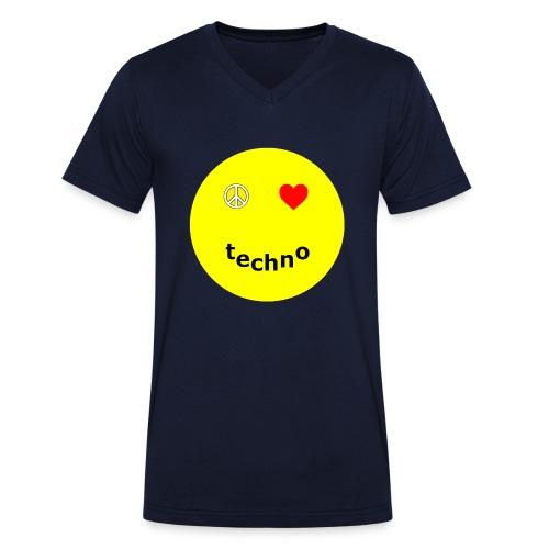 camiseta paz amor techno - Camiseta ecológica hombre con cuello de pico de Stanley & Stella