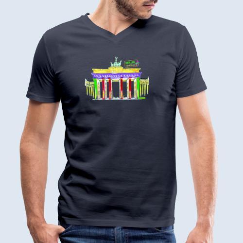 """Berliner """"Brandenburger Tor"""" PopArt BLS Design - Männer Bio-T-Shirt mit V-Ausschnitt von Stanley & Stella"""
