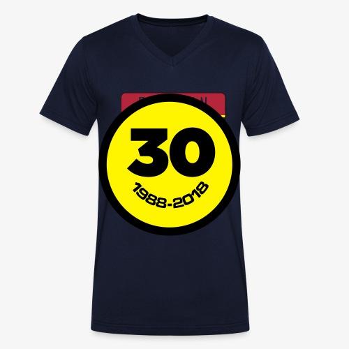30 Jaar Belgian New Beat Smiley - Mannen bio T-shirt met V-hals van Stanley & Stella