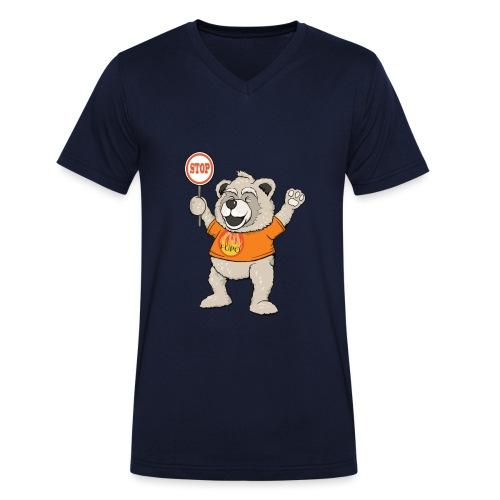 FUPO der Bär. Druckfarbe bunt - Männer Bio-T-Shirt mit V-Ausschnitt von Stanley & Stella