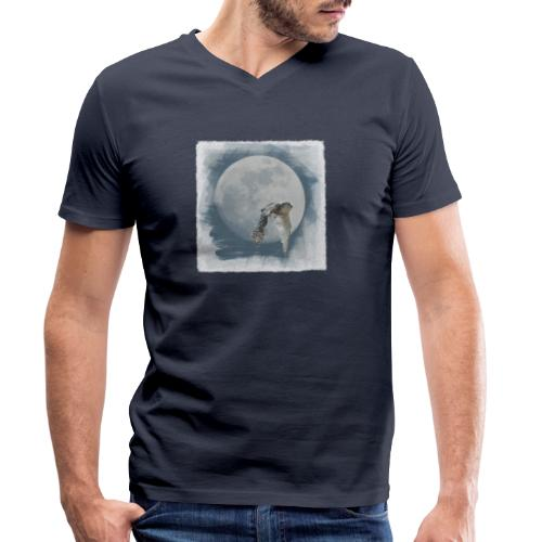 Flying owl full moon watercolor photo art - Men's Organic V-Neck T-Shirt by Stanley & Stella