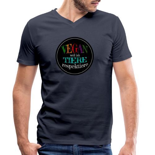 VEGAN WEIL ICH TIERE RESPEKTIERE - Männer Bio-T-Shirt mit V-Ausschnitt von Stanley & Stella