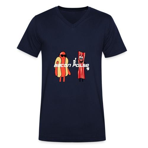 BACON & POLSE (ANIMATON EDITION) - Økologisk T-skjorte med V-hals for menn fra Stanley & Stella