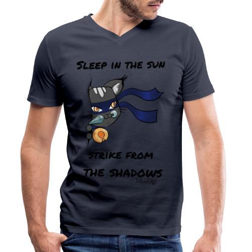 Ninja Cat gluurt vanuit shirt EnChantalled png - Men's Organic V-Neck T-Shirt by Stanley & Stella