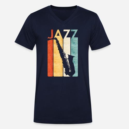 Jazz Saxophon Retro - Männer Bio-T-Shirt mit V-Ausschnitt von Stanley & Stella
