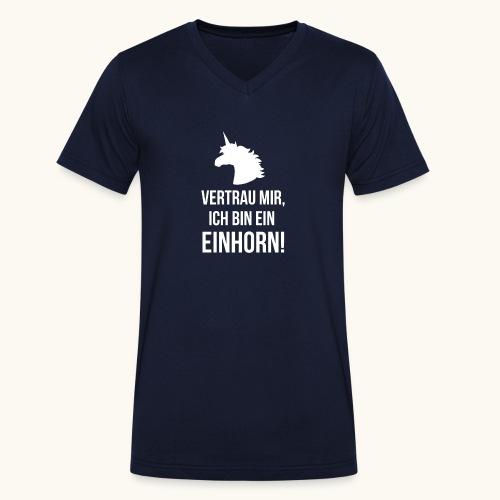 Lustiges Einhorn Spruch Geschenk Vertrauen Weiss - T-shirt bio col V Stanley & Stella Homme
