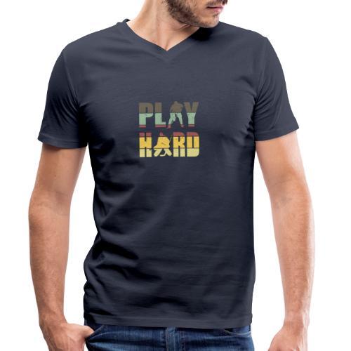 Hockey Play Hard - Männer Bio-T-Shirt mit V-Ausschnitt von Stanley & Stella