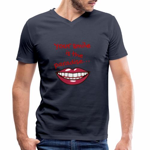 Smile lustige Sprüche shirt design - Männer Bio-T-Shirt mit V-Ausschnitt von Stanley & Stella
