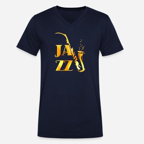 Jazz Tribal Saxophon - Männer Bio-T-Shirt mit V-Ausschnitt von Stanley & Stella