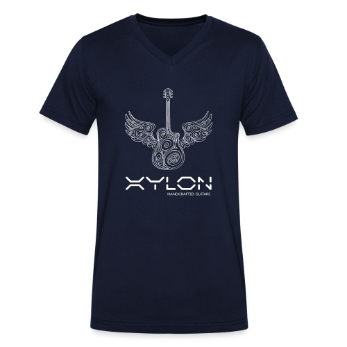 Xylon Guitars Premium T-shirt (white design) - Men's Organic V-Neck T-Shirt by Stanley & Stella