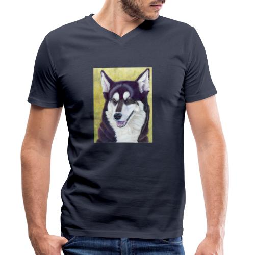 Siberian husky - Økologisk Stanley & Stella T-shirt med V-udskæring til herrer