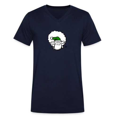 Santa Sheep (green) - Men's Organic V-Neck T-Shirt by Stanley & Stella