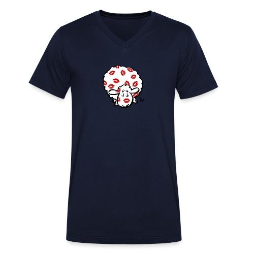 Beso oveja - Camiseta ecológica hombre con cuello de pico de Stanley & Stella