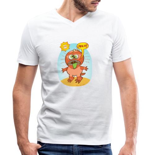 Bad summer sunburn for a funny dinosaur - Men's Organic V-Neck T-Shirt by Stanley & Stella