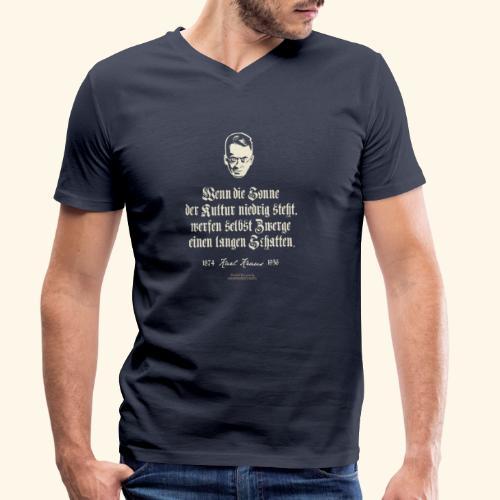 T-Shirt Zitat Karl Kraus über Kultur - Männer Bio-T-Shirt mit V-Ausschnitt von Stanley & Stella