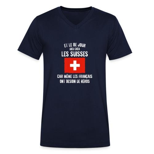 Et le 8ème jour Suisse - T-shirt bio col V Stanley & Stella Homme