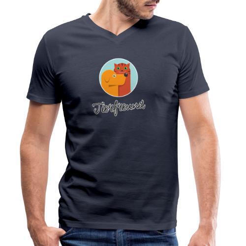 Tierfreund mit Schriftzug - Männer Bio-T-Shirt mit V-Ausschnitt von Stanley & Stella