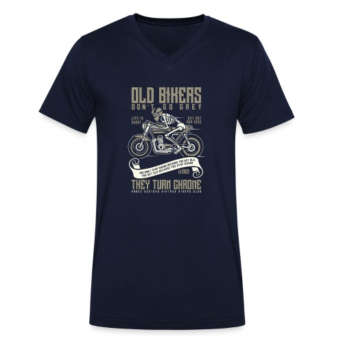 Old Bikers Turn Chrome - Men's Organic V-Neck T-Shirt by Stanley & Stella