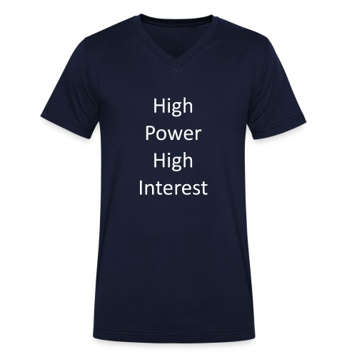 high power high interest - Men's Organic V-Neck T-Shirt by Stanley & Stella