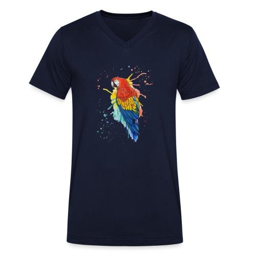 Parrot Watercolors Nadia Luongo - T-shirt ecologica da uomo con scollo a V di Stanley & Stella