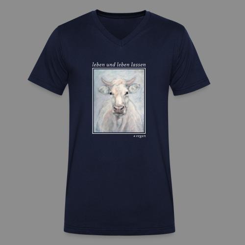 Kuh-Portrait - vegan - Männer Bio-T-Shirt mit V-Ausschnitt von Stanley & Stella
