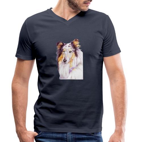 Collie bluemerle - Økologisk Stanley & Stella T-shirt med V-udskæring til herrer