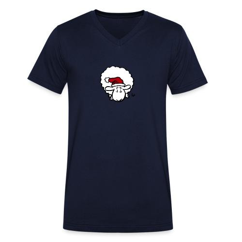 Weihnachtsschaf (rot) - Männer Bio-T-Shirt mit V-Ausschnitt von Stanley & Stella
